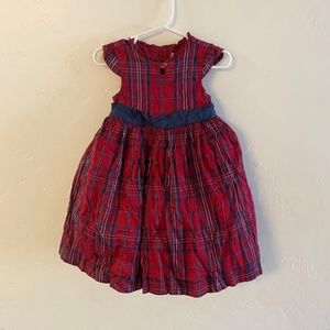 Janie & Jack Girls Red & Navy Plaid Holiday Dress